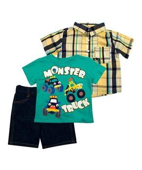 3374b6d50 Green 'Monster Truck' Crewneck Tee & Shorts Set - Infant & Toddler