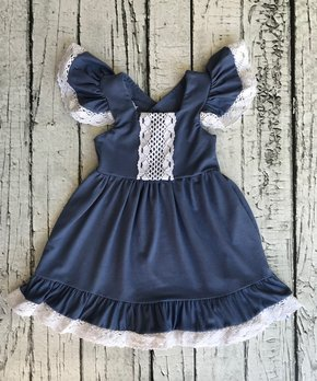 70f355e3 Chicaboo | Blue Floral Crochet-Accent Flutter-Sleeve Dresses - Infant…
