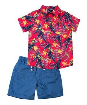 d19c2d01a Little Rebels | Red Tropical Leaf Button-Up & Blue Drawstring Shorts …