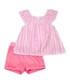 5a48cbbaca0a5a Nannette Kids | Coral & White Stripe Shimmer Cap-Sleeve Top & Coral S…