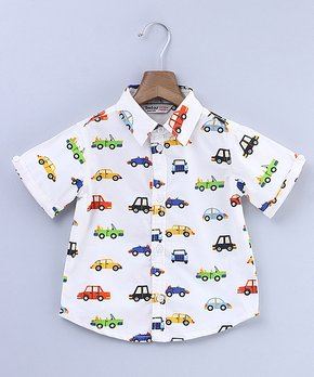 5b34d8ca12 Beebay | White Car Button-Up - Newborn, Infant, Toddler & Boys