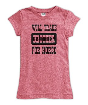 1e580f154 Urban Smalls | Heather Red 'Will Trade Brother For Horse' Fitted Tee …