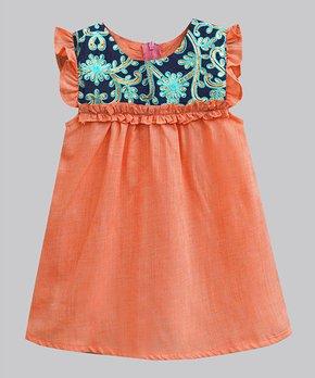 cdb7b63a7 A.T.U.N.   Orange Zest & Blue Daisy Embroidered Melody Angel-Sleeve D…