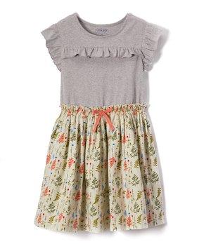 4fa13cf370593 Cherokee | Green & Gray Leaves Skater Dress - Girls