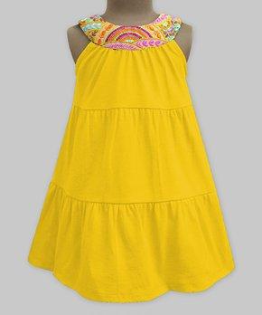 e900eb5f7 Yellow Amber Scallop Flora Embroidered Yoke Dress - Girls