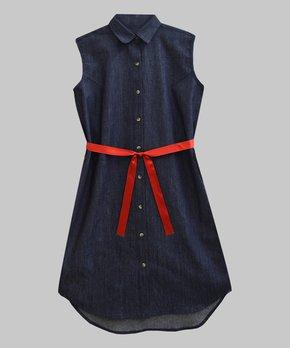 d975ef345 A.T.U.N. | Navy Vintage Denim Tie-Waist Sleeveless Shirt Dress - Women