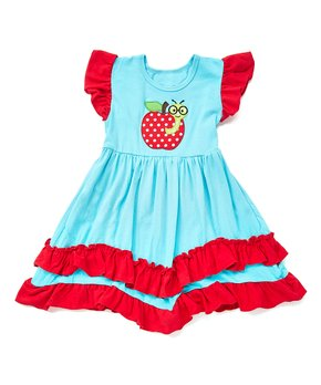 7d8fd0a45d83 Royal Gem | Teal & Red Apple Ruffle Hem Angel-Sleeve Dress - Infant, …