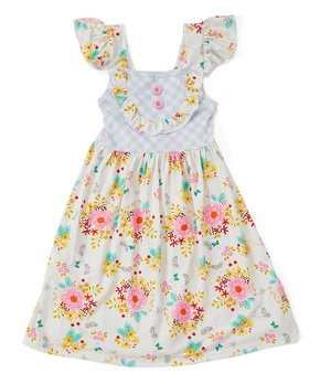 506fbe7640c4 Royal Gem | Yellow & Pink Floral Angel-Sleeve Dress - Newborn, Infant…