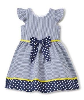 6e9e79a1ea81 Rare Editions | Navy & White Stripe Polka Dot Bow Angel-Sleeve Dress …