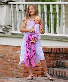 d41d5e3e9e4cd Lilli Lovebird | Pink & Blue Stripe Ruffle Handkerchief Dress & Doll …