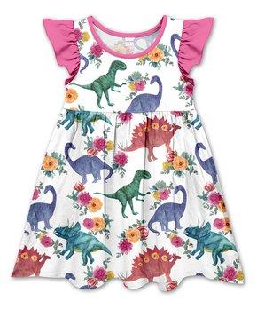 1e5ac1691 Penelope Plumm | White & Pink Floral Dinosaurs Angel-Sleeve Dress - T…