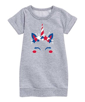 9c99f05f0226 Instant Message | Athletic Heather Patriotic Unicorn Sweatshirt Dress…
