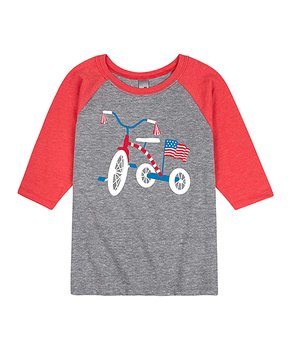 bcb616184f7e Instant Message | Athletic Heather & Red Patriotic Tricycle Raglan Te…