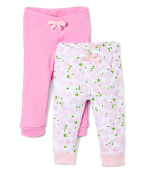 7121fdba3 Sweet & Soft   Pink & White Floral Sweatpants & Fuchsia Sweatpants - …