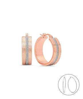 7cd418474 HMY Jewelry | Two-Tone Greek Key Hoop Earrings
