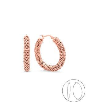 31d4f35d6 HMY Jewelry | Rose Gold Mesh Hoop Earrings