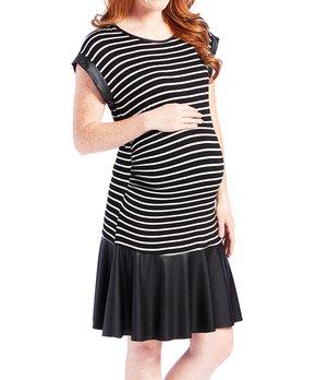 bb56128e8818b Mom & Co | Ivory & Black Faux Leather Ruffle Shift Maternity Dress