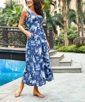 7d747648c2 Navy Floral Sleeveless V-Neck Maxi Dress - Women   Plus
