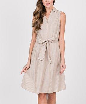 f2dc3a49cf3be LARA Fashion | Khaki Stripe Tie-Waist Sleeveless Dress - Women