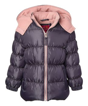 91faa254d Pink Platinum | Ebony Black & Blush Ripstop Puffer Coat - Toddler