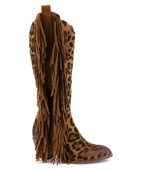 844dd5f4a BEAST | Brown Leopard Fringe Ivanna Tall Cowboy Boot - Women