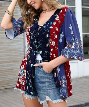 64cb76369 Reborn Collection | Blue & Red Floral Tie Front Top - Women & Plus