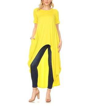 c0125962532 Karen T. Design | Yellow Pocket Cocoon Hi-Low Tunic - Women & Plus