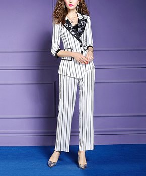 c355e0514cc10 Vicky and Lucas   White Stripe Floral-Contrast Blazer & Wide-Leg Pant…