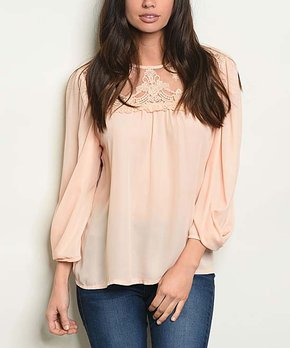 0146c3751ca8c5 The Balec Group | Peach Lace Neckline Top - Women
