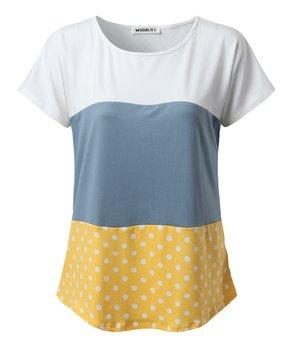 1ee512983 Doublju | Mustard & Denim Blue Color Block Short-Sleeve Top - Women