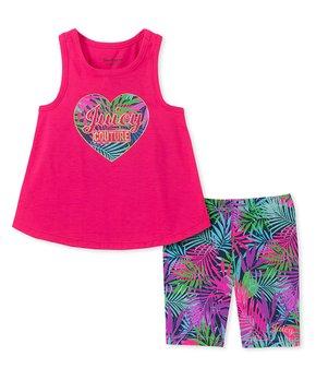 613fd93f3 Hot Pink Heart Tank & Purple Floral Shorts - Toddler & Girls