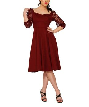 df26df0ab74251 HEARTS & ROSES LONDON | Brown Lace-Contrast A-Line Dress - Women