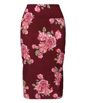 c66629ac6e VKY & CO   Burgundy & Coral Floral Tummy Control Pencil Skirt - Women…