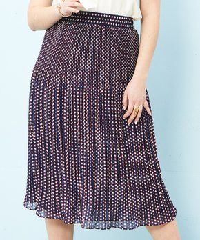 19c40ad196 Minna | Navy & Red Geometric Pleated Midi Skirt - Women & Plus