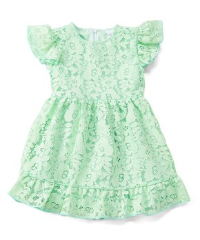 a4ed2bb2008a Royal Gem | Green Lace Angel-Sleeve Dress - Newborn, Infant, Toddler …