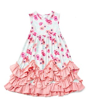 647ad7fca555 Royal Gem | Pink & Blue Floral Ruffle-Accent Maxi Dress - Infant & To…