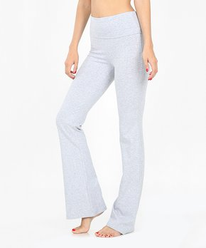 236d56ec938748 EAG | Heather Gray Fold-Over Flare Yoga Pants - Women