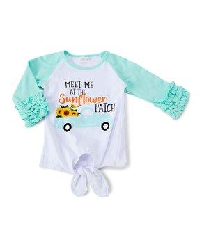 a142b447ecbc3 Royal Gem | Teal 'Sunflower' Farm Ruffle Raglan Top - Infant, Toddler…