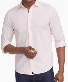 2621ff05ac Pink Piqué Polo Long-Sleeve Button-Up - Men