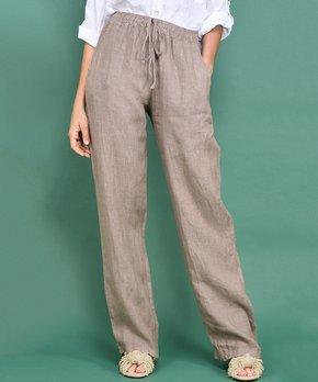 30addea7769c46 Ozange Paris | Brown Side-Pocket Brooke Linen Wide-Leg Pants - Women