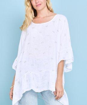 64b7014bd25 Ozange Paris   White Pineapple Anathalie Linen Hi-Low Tunic - Women