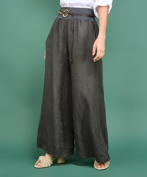 52f44ae195a5f3 Ozange Paris | Gray Belted Wendie Linen Palazzo Pants - Women