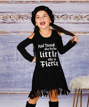 9a3c1a757317f Mia Belle Girls | Black 'And Though She Be But Little She is Fierce' …