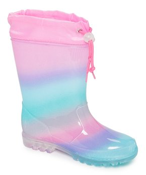 Laura Ashley Girls All Over Print Waterproof Basic Rainboots Teal//Fuschia 9 Toddler