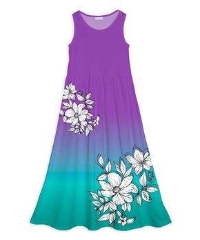 febdf01acdd4 Emma & Elsa | Purple & Blue Ombré Floral Maxi Dress - Girls