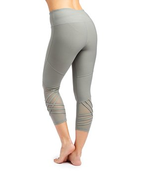 9c75c52708d332 VOGO | Olive Mesh-Accent Crop Leggings - Women