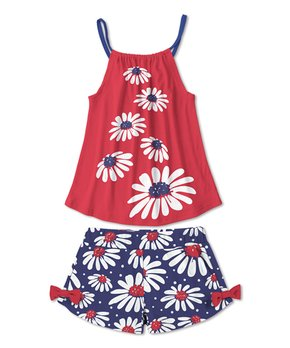 3067a81f893e Sunshine Swing | Red Daisies Tank & Navy Daisies Bow Shorts - Girls