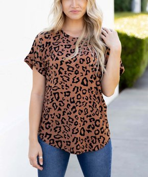 08b35751a45 Tickled Teal | Brown Leopard Rolled-Sleeve Crewneck Tee - Women