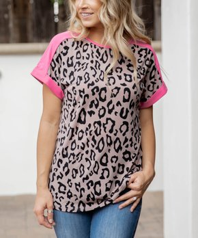 799c8fdc4bbc Tickled Teal   Pink & Taupe Leopard Contrast-Trim Crewneck Tee - Women