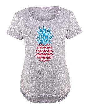 4f64b64f0d38 Instant Message Plus | Athletic Heather Patriotic Pineapple Scoop Nec…